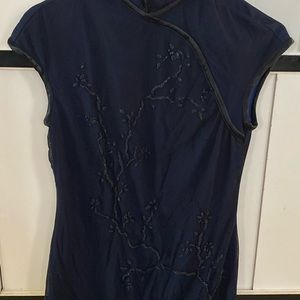 Vintage Midnight Blue Qi Piao Style Dress